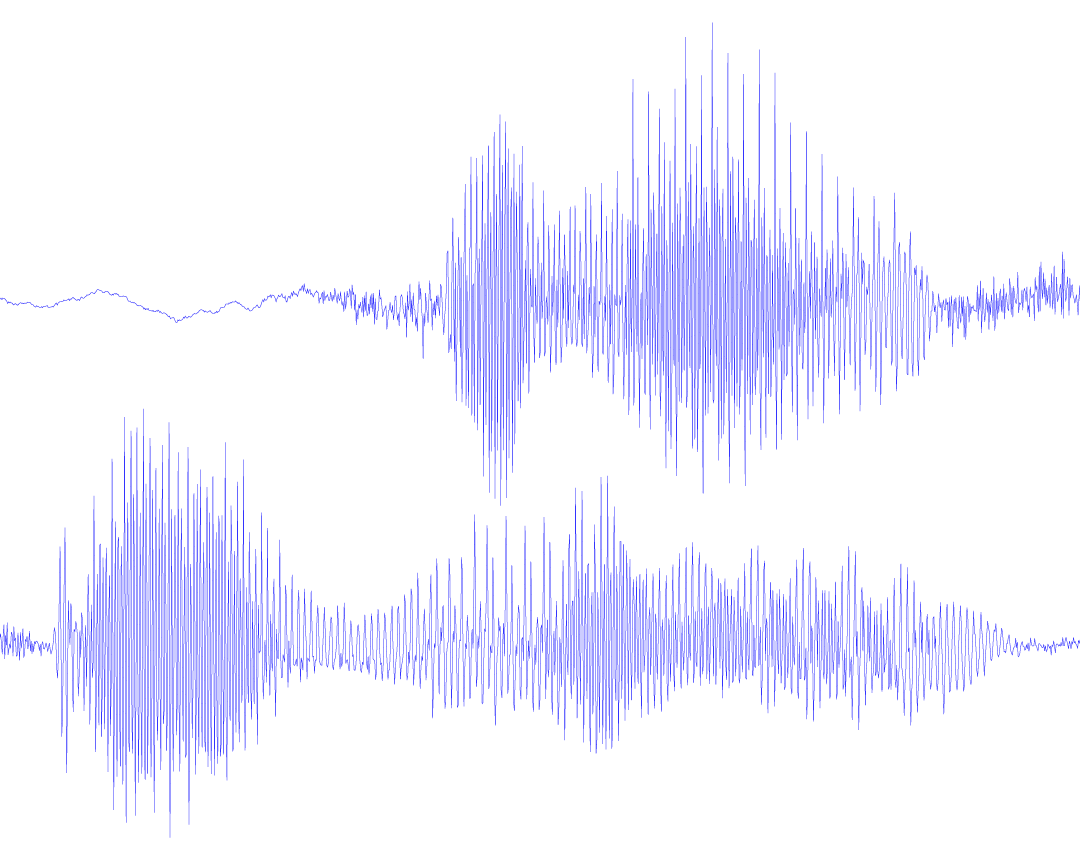 Sound waveform, sliced, scaled, and arranged.
